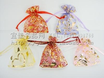 10*12CM中号烫金玫瑰花礼品袋抽绳袋饰品首饰糖果干花香料纱布袋颜色随机不选色