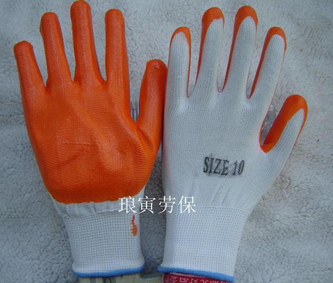 厂家直销10寸13针尼龙丁腈浸胶 劳保手套外贸丁腈工作手套