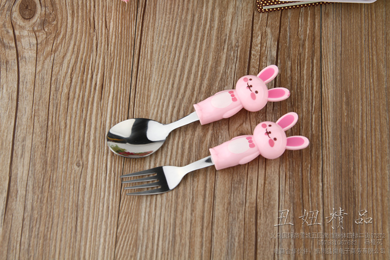 精品小白兔把柄汤勺不锈钢汤勺汤勺 刀叉两件套 卡通餐具两件套