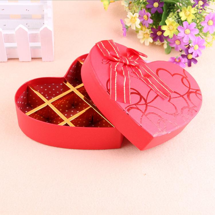 韩版蝴蝶结丝带爱心礼品盒 精美包装盒10格巧克力盒