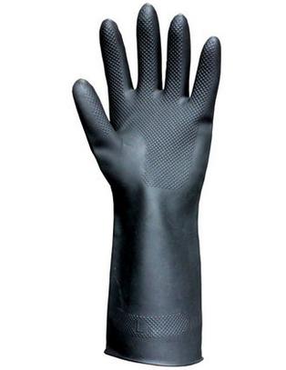 厂家直销黑色氯丁胶乳工业劳保防护手套加厚耐高温耐腐蚀