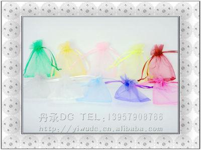 8*10单色珍珠纱礼品袋束口袋饰品珠宝袋欧根纱缎带抽绳袋干花香料100个一包opp包装,一箱10000个