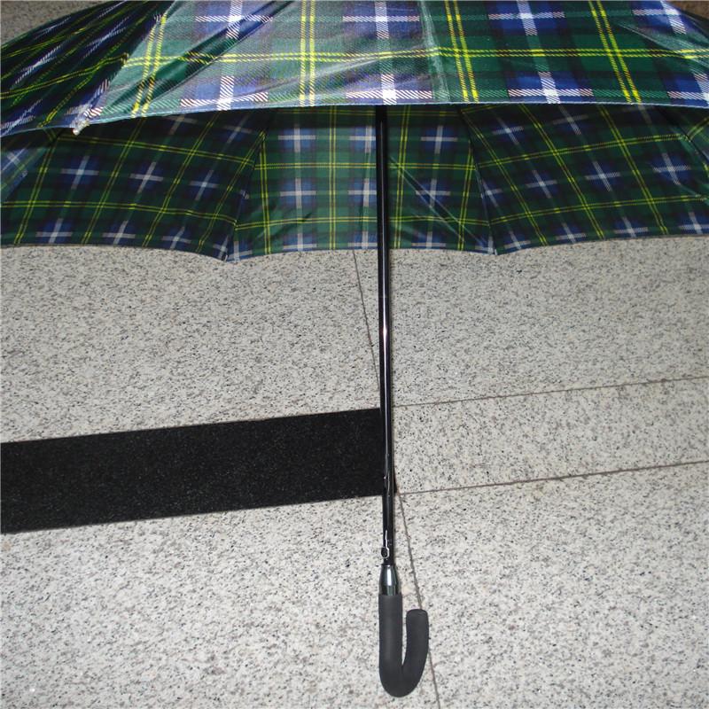 格子纯色加大长柄伞拉簧伞架超强防风晴雨伞