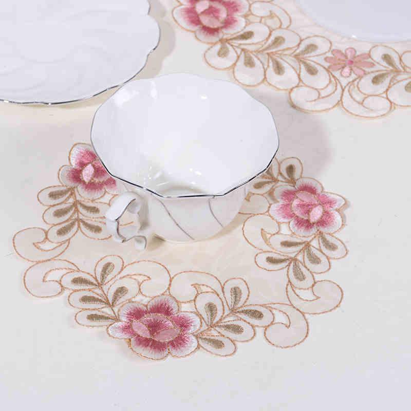 圆形方形茶垫田园绣花镂空贡缎碗垫家居布艺餐桌餐盘垫布桌垫