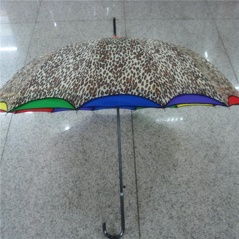 性感清新豹纹晴雨伞个性七彩接边长柄伞自动伞实用雨伞