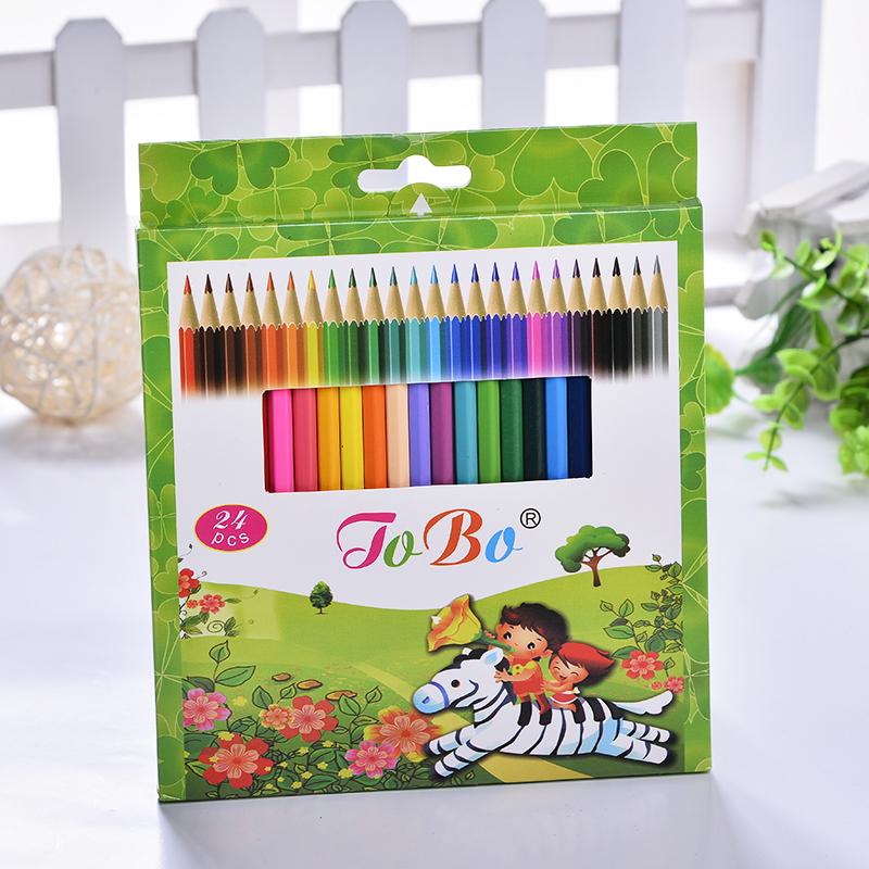 彩色铅笔24色 儿童环保绘图铅笔 木质彩铅可定做 批发外贸