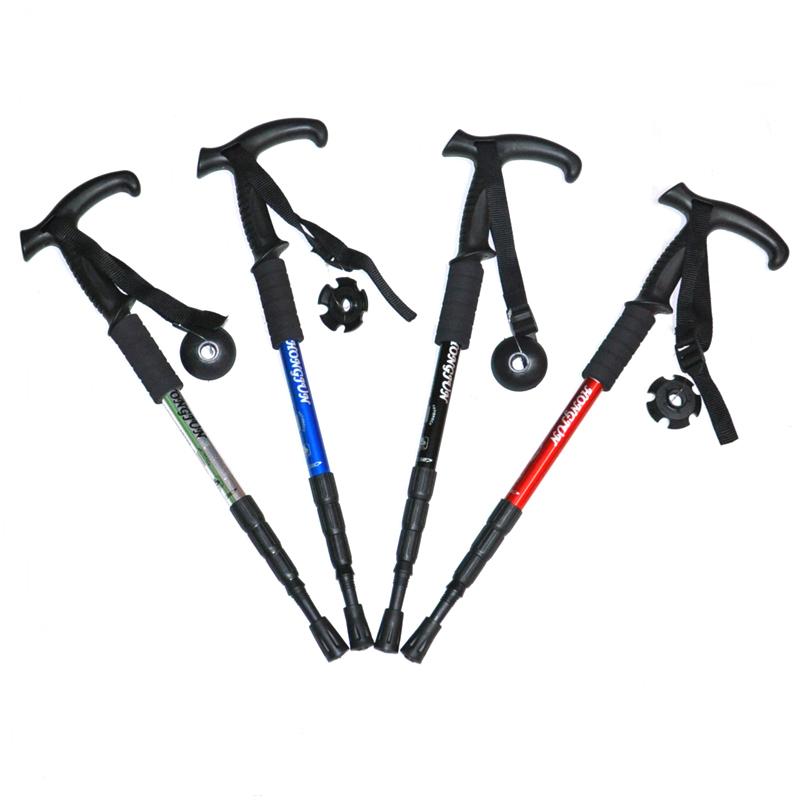 雪橇犬雪橇犬户外弯柄 四节铝合金登山杖 徒步弯柄登山杖