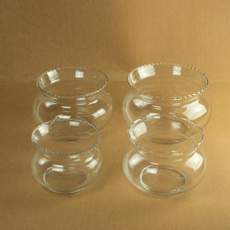 透明玻璃花边鱼缸 台面花瓶 水培 金鱼乌龟