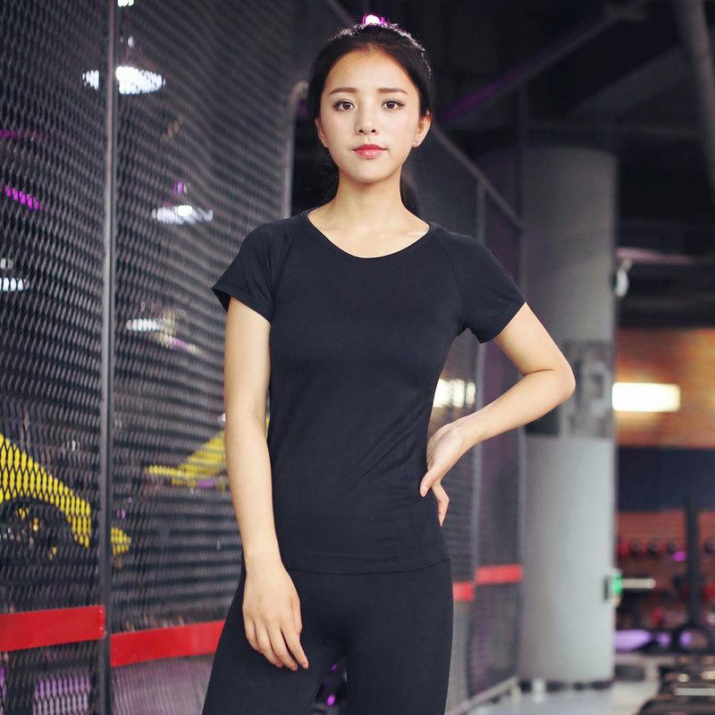百搭速干弹力修身女运动T恤瑜伽跑步训练健身短袖上衣