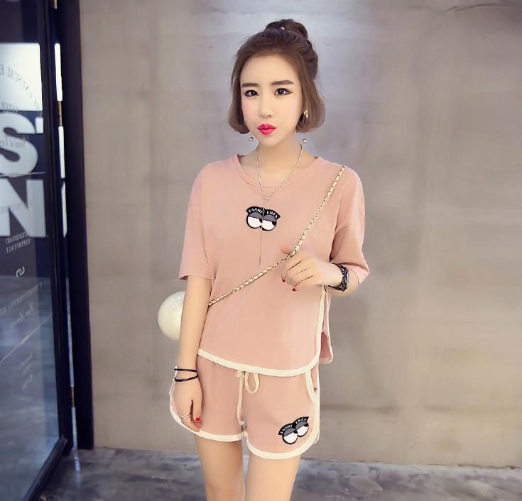 新款韩版女士字母短袖短裤睡衣休闲家居服