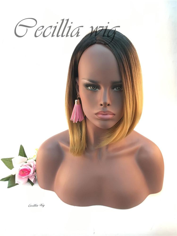 染色假发头套亚马逊热卖 欧美假发 外贸假发女 波波头化纤头套