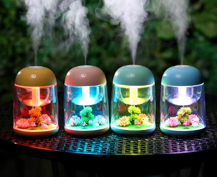 微景观加湿器 七彩夜灯家用净化加湿器 USB迷你香薰加湿器