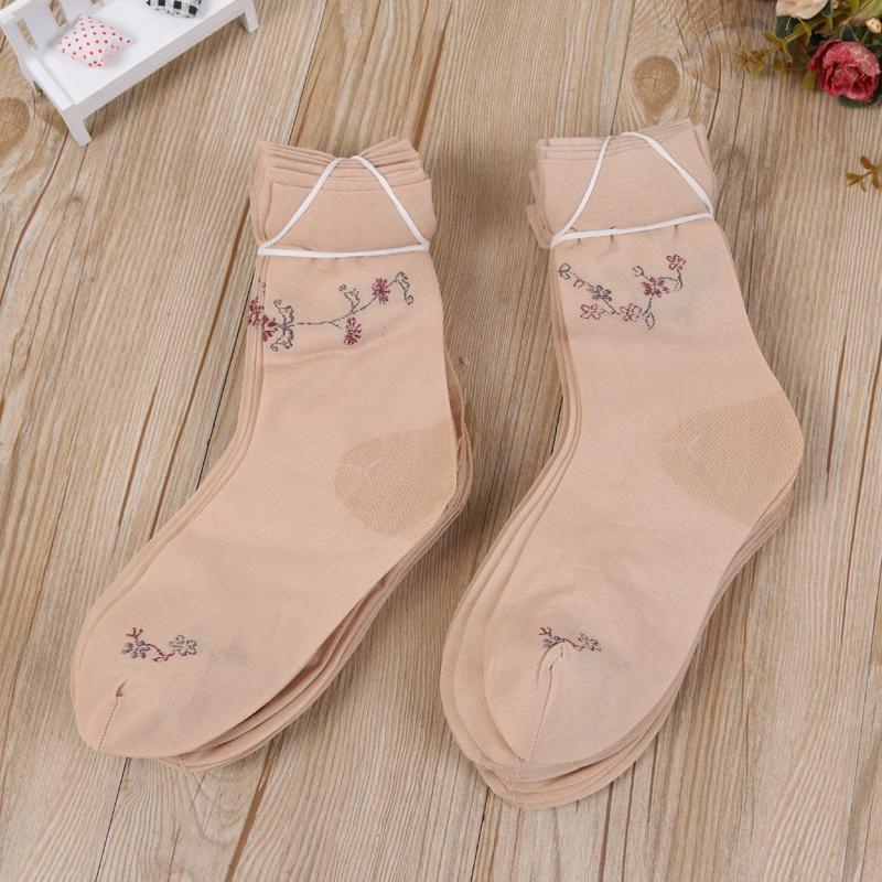 夏季女士袜子加厚有跟提花短丝袜2个色