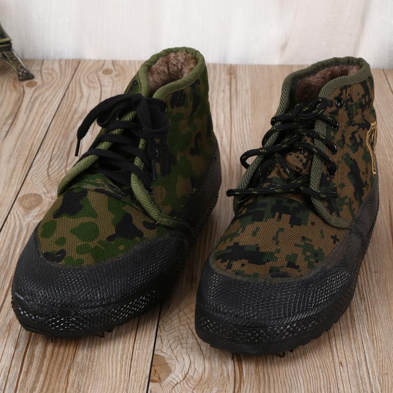 义乌好货 冬季内里带绒橡胶底保暖作训鞋 男士高帮厚底耐磨工作鞋