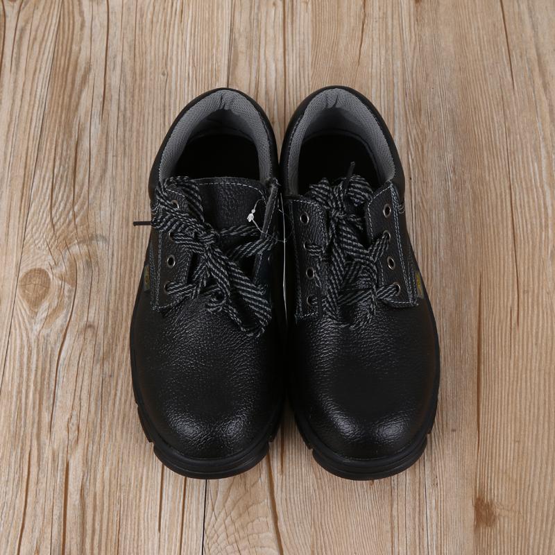 义乌好货 男款黑色厚底防滑耐磨劳保鞋 经久耐穿 真皮劳保安全鞋