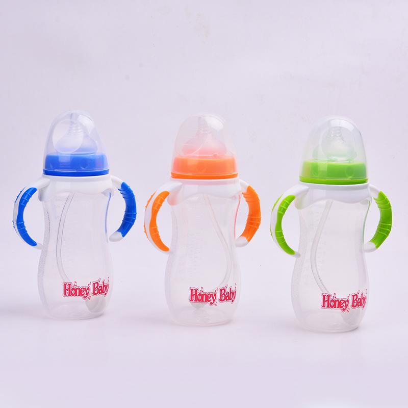 原厂直销 330ML宽口径感温有耳PP奶瓶 弧形婴儿奶瓶用品 低价批发