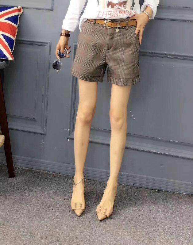 高腰阔腿裤女夏2018新款韩版宽松学生a字短裤女裤格子裤西装