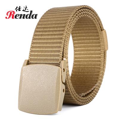 厂家批发 防过敏运动户外轻便尼龙环保腰带平滑塑钢扣战术腰带