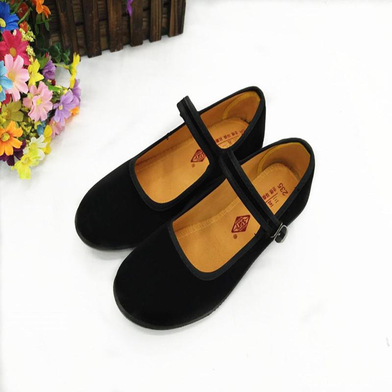 义乌好货 高跟黑色礼仪鞋女士老北京布鞋职业工作鞋绒面带扣单鞋