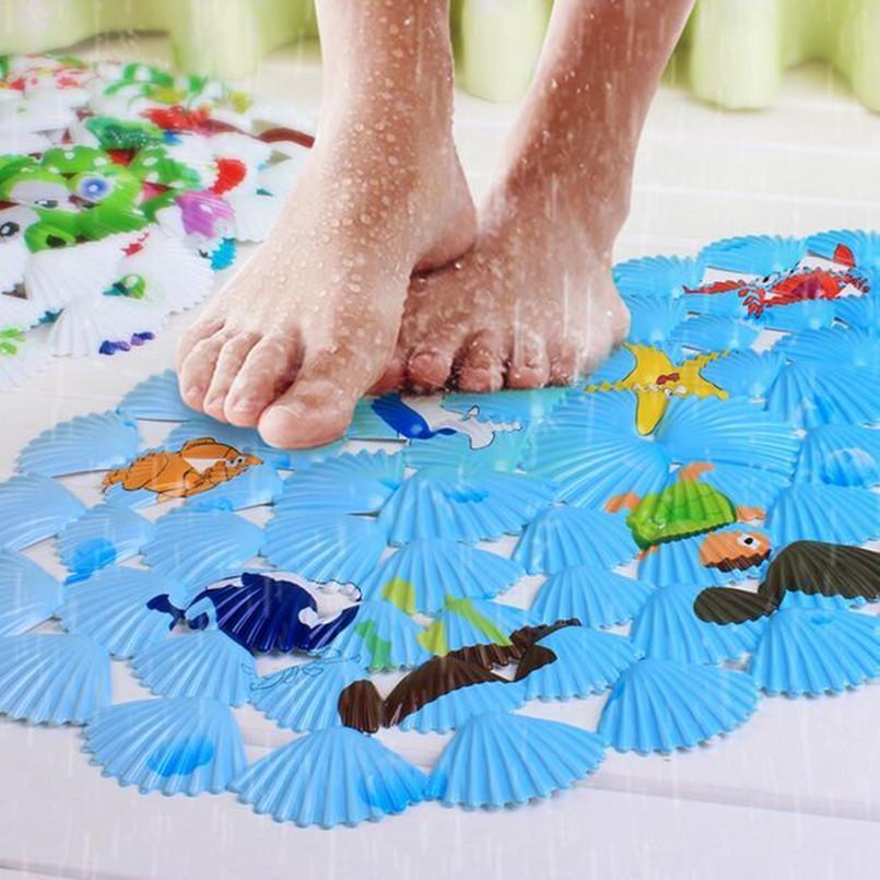 家鸿家居彩色贝壳浴室防滑垫 卡通印花儿童洗澡地垫吸盘按摩脚垫