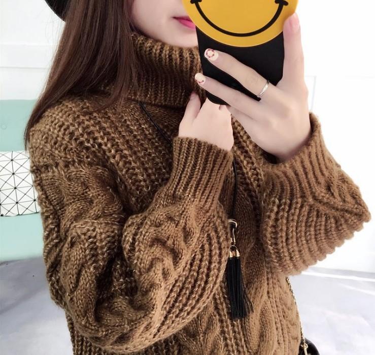 高领毛衣女套头宽松打底针织衫学生粗毛线外套加厚