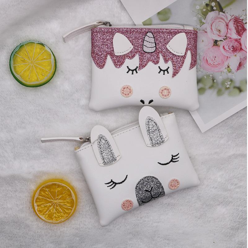 金吉多可爱日韩羊驼独角兽刺绣大容量休闲韩版儿童零钱包卡包