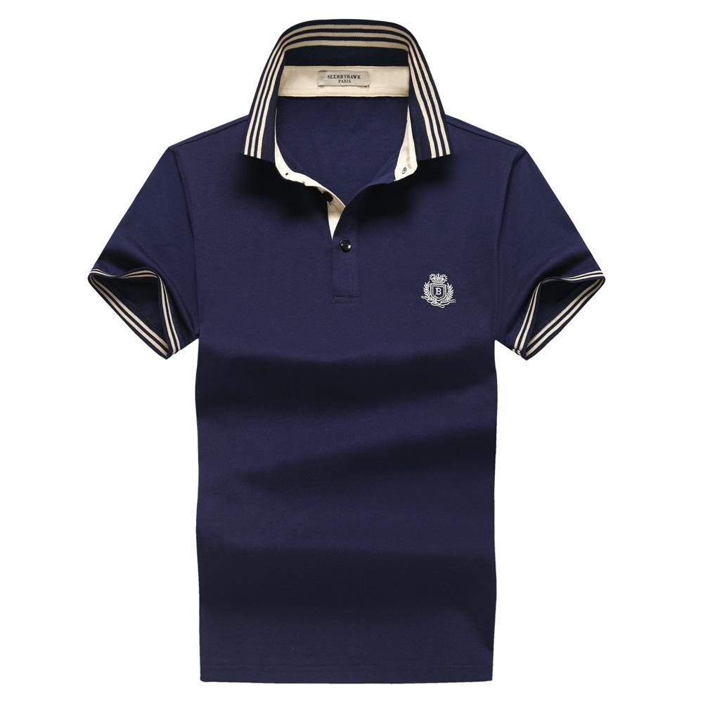 义乌好货青年商务男短袖T恤纯色翻领 2017夏季新款高端品牌