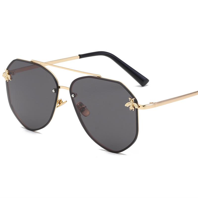 小蜜蜂新款太阳镜不规则多边形复古眼镜欧美女士户外墨镜现货