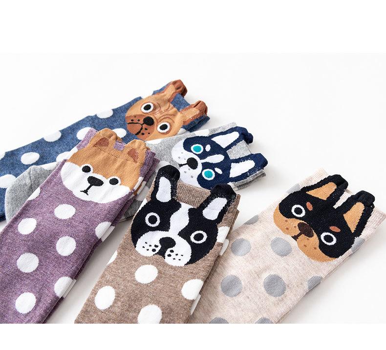 韩国新款纯棉女袜 日系圆点少女袜子 立体棉袜 经典可爱狗狗系列