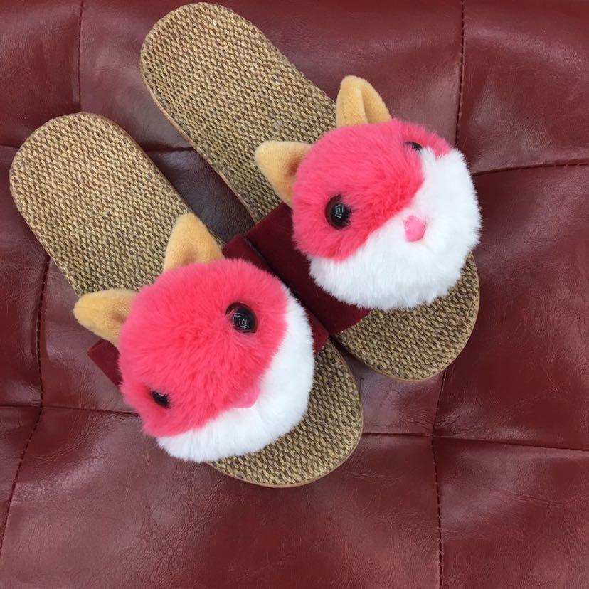 新款儿童卡通兔子拖鞋拖鞋女冬季保暖室内居家情侣冬季防滑毛绒棉拖