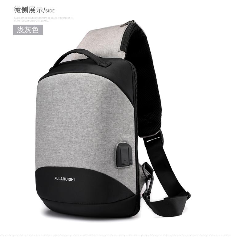 义乌好货 新款胸包时尚潮流 带耳机孔USB接口男士单肩斜跨包