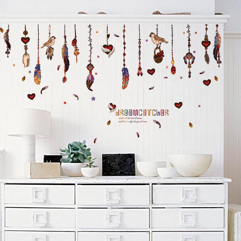 墙贴 创意羽毛吊坠随心贴 客厅玄关卧室电视背景装饰墙贴