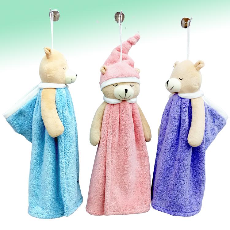 恩洁卡通擦手巾小熊超强吸水毛巾抹布可爱擦手毛巾