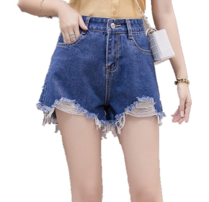 高腰牛仔短裤女夏季新款百搭毛边破洞休闲学生大码女装热裤子