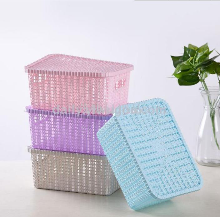 收纳篮镂空收纳篮收纳盒简约桌面多功能收纳篮塑料整理置物篮