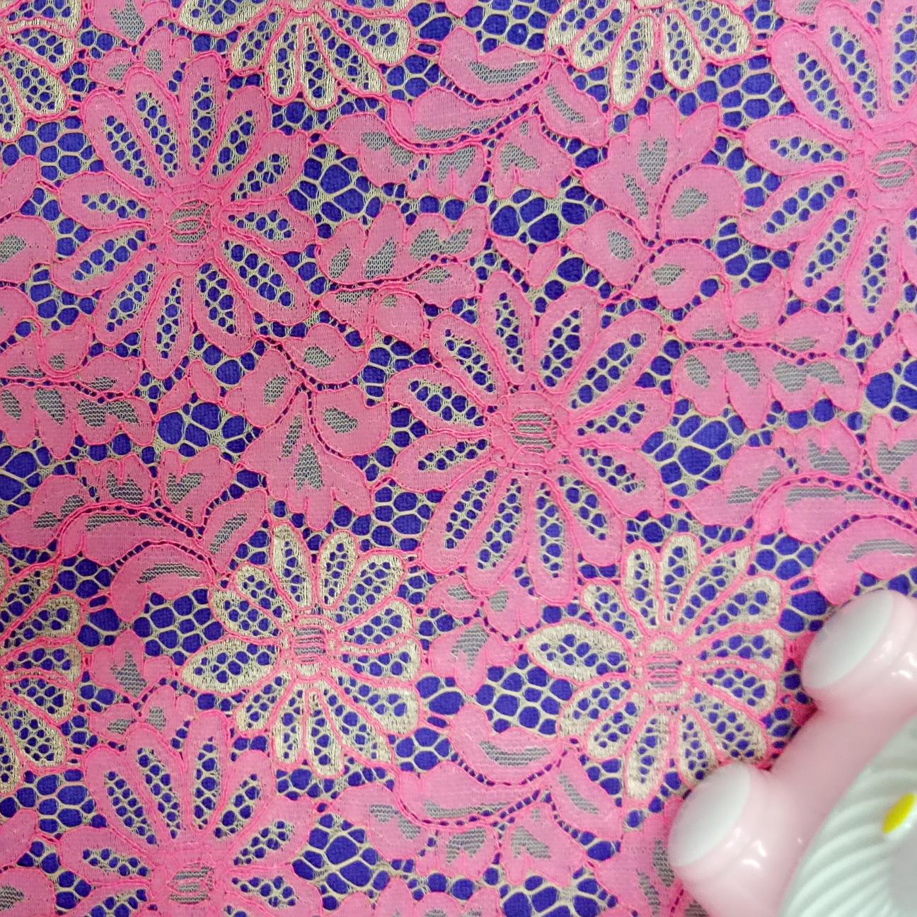 锦氨新款绚丽鲜艳花朵蕾丝 镂空时尚女装蕾丝面料 韩版女装辅料