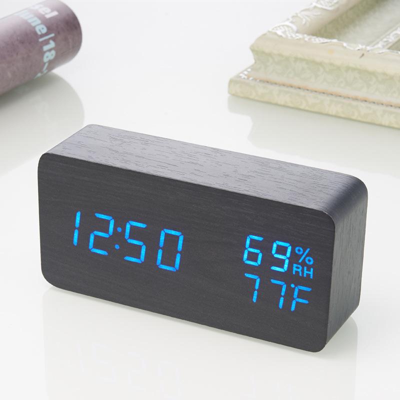 LED木头钟温湿度计家用温度计室内电子温湿度计时钟闹钟工厂直销ET017