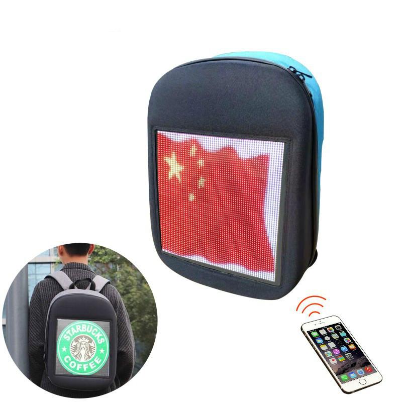 网红同款动感led背包休闲双肩包男女发光智能LED背包显示屏
