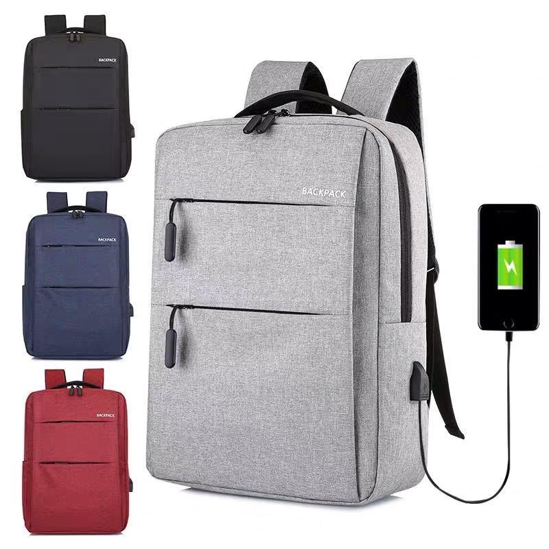 2020新款双肩背包男 学院风纯色学生书包 户外运动旅行包供应定制