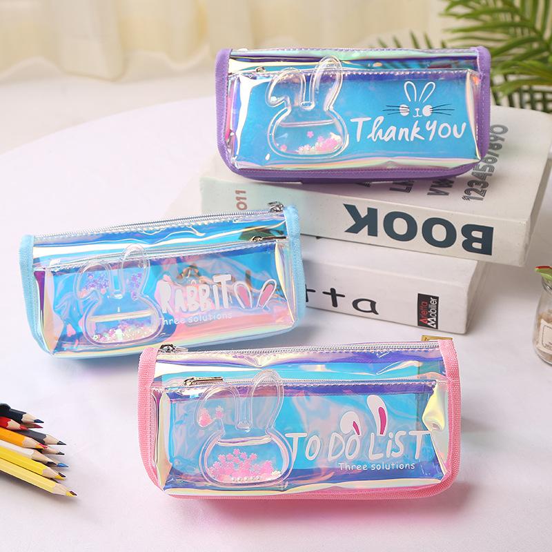 金吉多透明镭射帆布星星兔子原宿炫酷铅笔盒大容量少女心文具盒