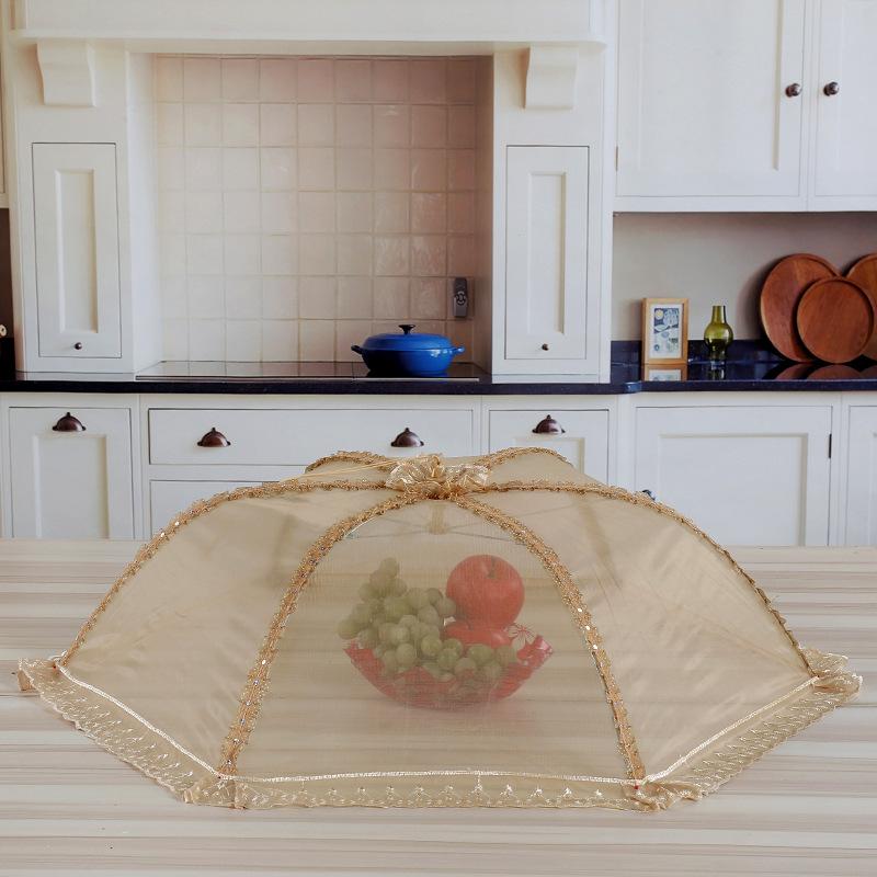 天然居创意新款伞形保温菜罩蕾丝可折叠防虫防蝇食品罩厂家批发