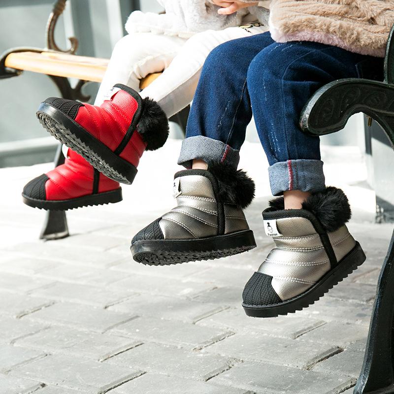 冬季新款幼儿童雪地靴加厚儿童棉鞋PU皮儿童棉鞋批发