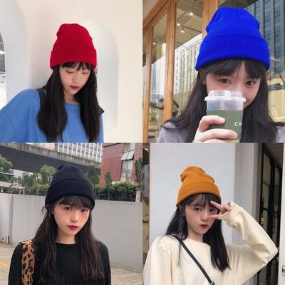 新款针织帽纯色双层针织冷帽 冬季加厚保暖针织毛线帽