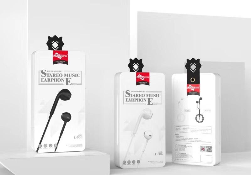 利超品牌L-886手机音乐线控耳机 半入耳舒适耳塞