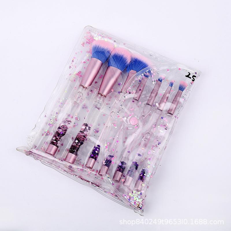 新款7支化妆刷套装水晶柄液体流沙化妆刷美妆工具美妆刷厂家直销