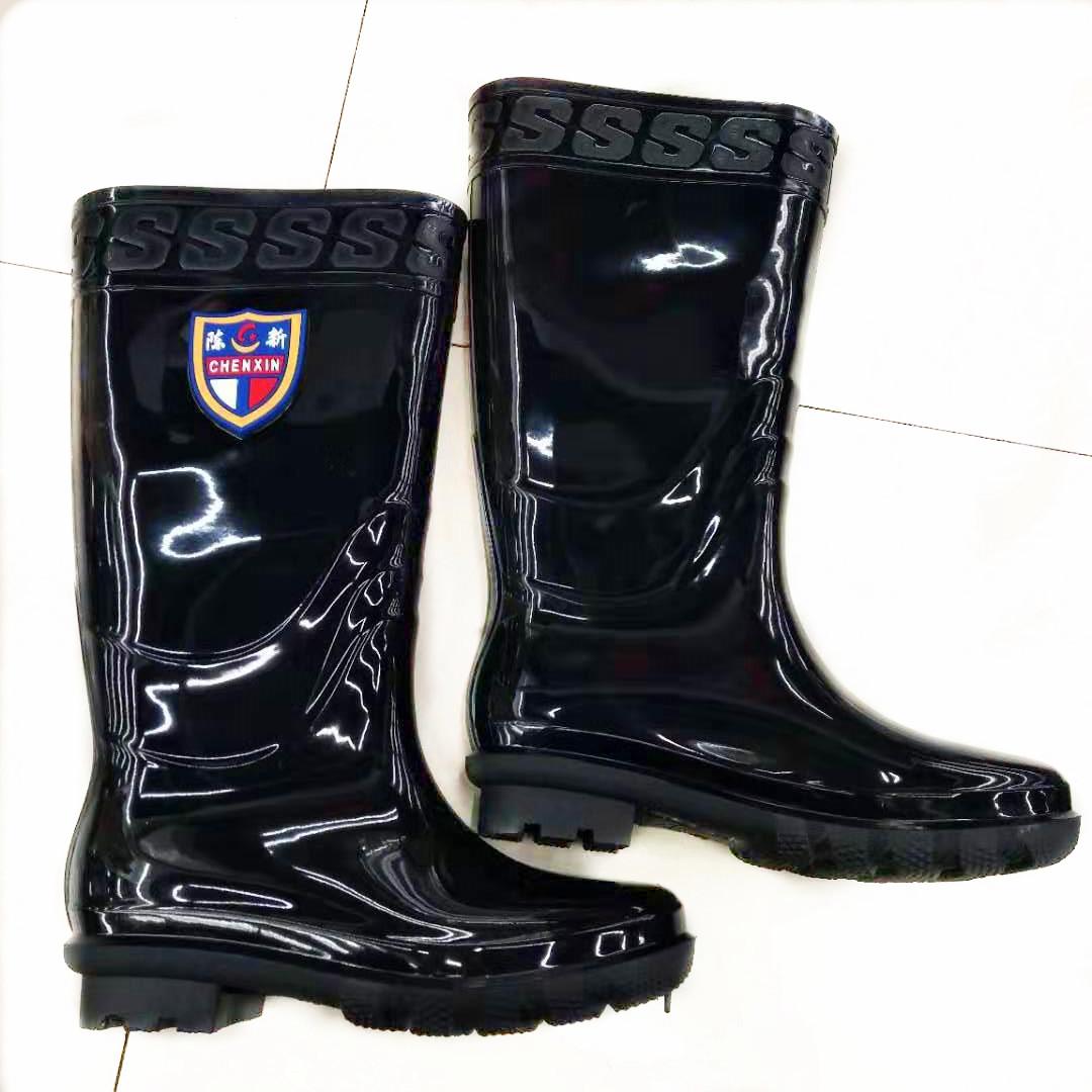 义乌好货 陈新高筒男款雨靴纯棉布高档雨鞋耐酸耐碱黑色高筒雨靴