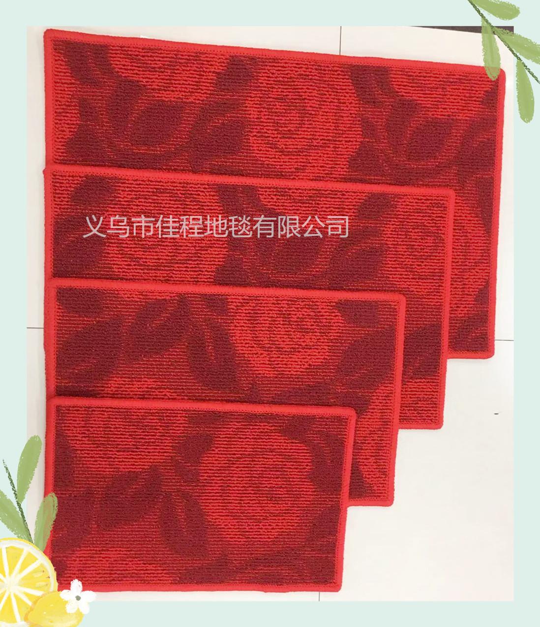 红色夏葵地垫 防滑提花地垫红色丙纶垫 吸水脚垫门垫防滑丙纶脚垫