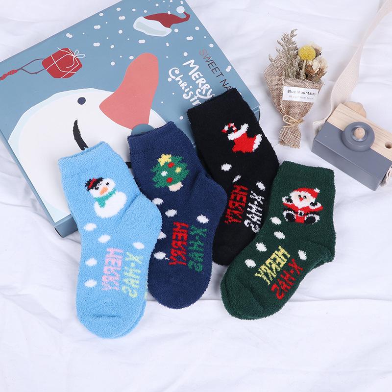 宝宝圣诞袜 男女童冬季加绒加厚毛巾袜珊瑚绒 可爱婴儿袜子