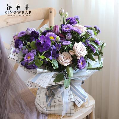 花衣裳韩素纸时尚风格鲜花包装纸格子防水花店用品花艺包花纸材料