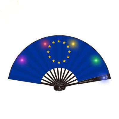酒吧蹦迪LED折扇 8寸发光扇子 电子闪光折扇定制题字印刷